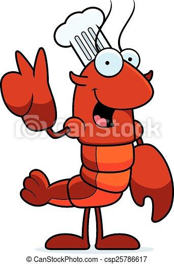 Cartoon Crawfish Chef Peace - csp25786617