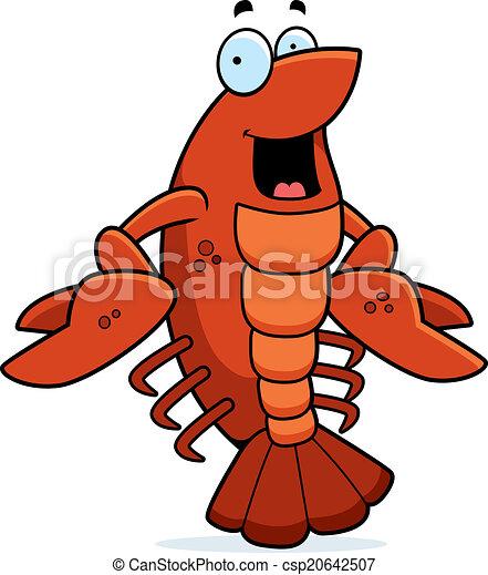 Cartoon Crawfish Smiling - csp20642507