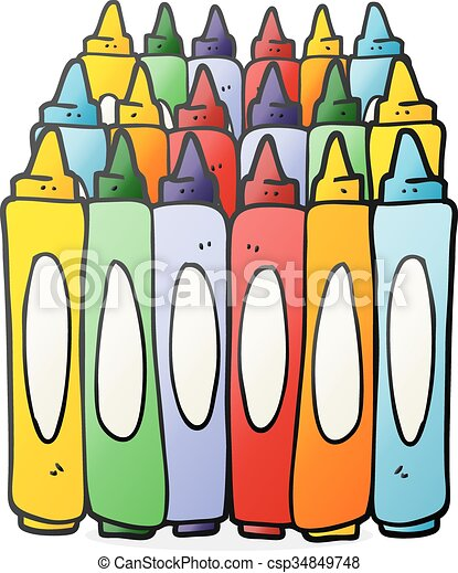 Freehand drawn cartoon crayons