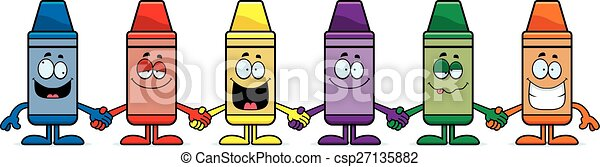 Cartoon crayons holding hands A cartoon illustration of a group of