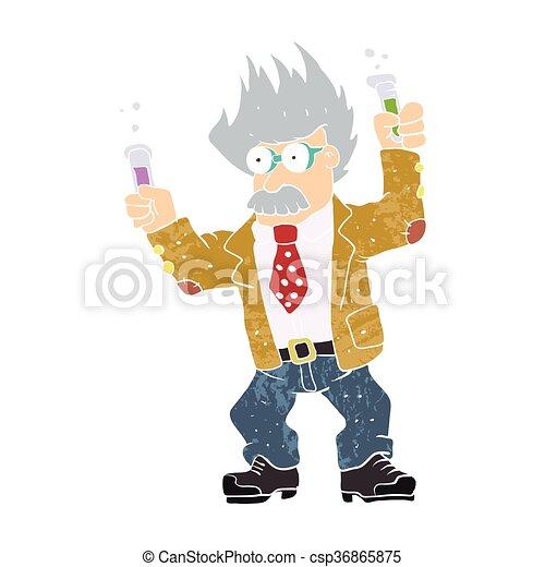 Cartoon crazy scientist. vector illu - csp36865875