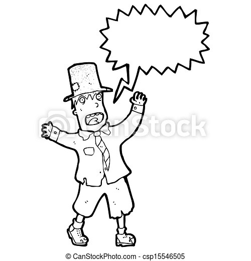 cartoon crazy tramp - csp15546505