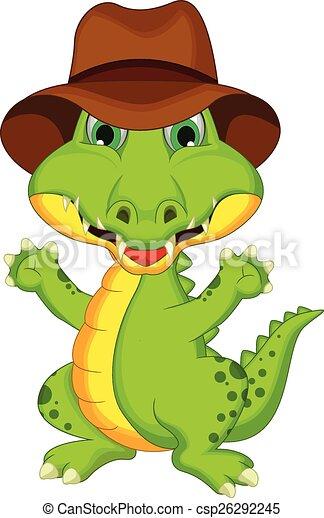 Cartoon crocodile posing - csp26292245