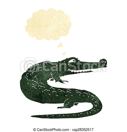 cartoon crocodile with thought bubble - csp28352517