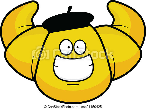 cartoon croissant grinning cartoon illustration of a grinning rh canstockphoto com Fench Clip Art Wrench Clip Art