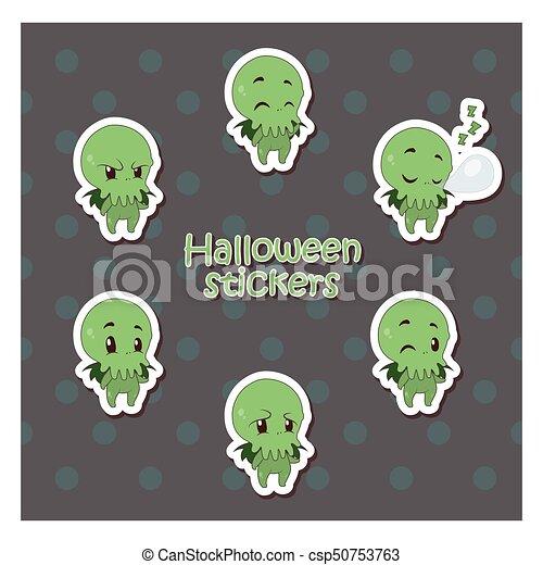 Cartoon cthulhu sticker illustration