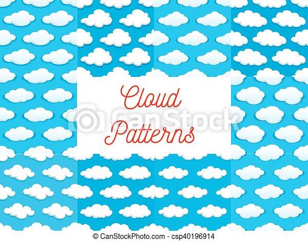 Cartoon Cumulus Clouds Seamless Patterns Cartoon Cumulus Clouds In