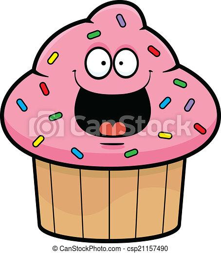 cartoon cupcake happy cartoon illustration of a cupcake with a
