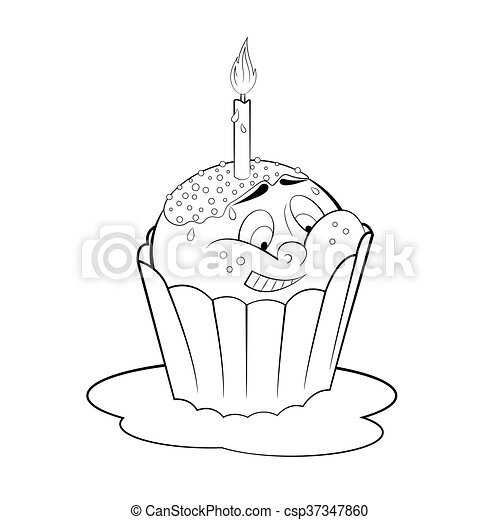 cartoon cupcake with candle coloring page csp37347860 - Cupcake Candle Coloring Page
