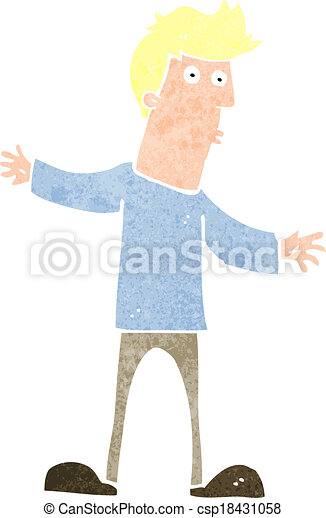 cartoon curious man - csp18431058