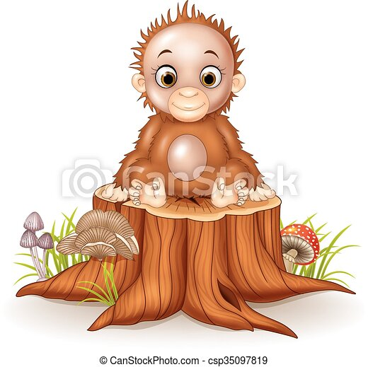 Cartoon cute a baby monkey sitting  - csp35097819