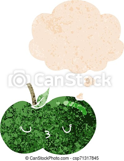 cartoon cute apple and thought bubble in retro textured style - csp71317845