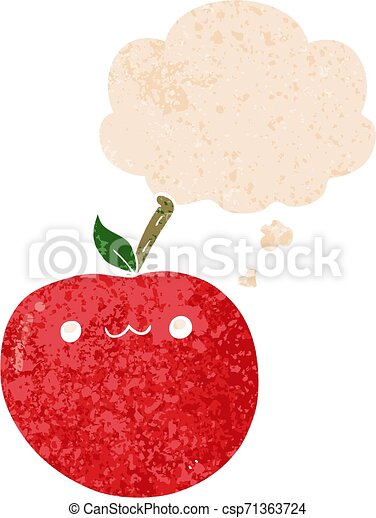 cartoon cute apple and thought bubble in retro textured style - csp71363724