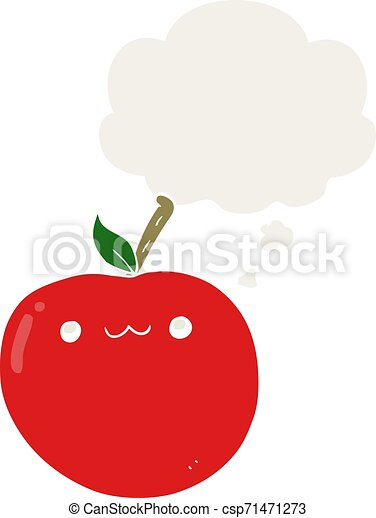 cartoon cute apple and thought bubble in retro style - csp71471273