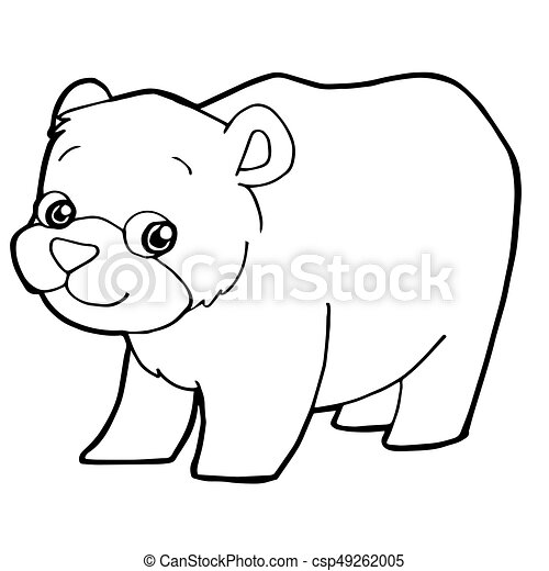 Cartoon Cute Bear Coloring Page Vector Illustration