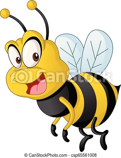 Cartoon cute bee. Vector illustration of funny happy animal. - csp65561008
