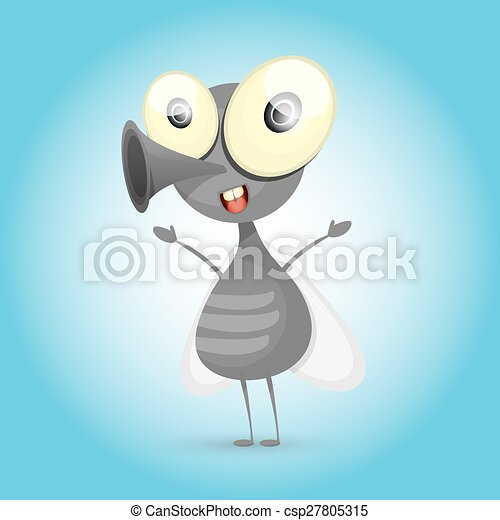 cartoon cute bright fly insect with big googly eyes and a protruding