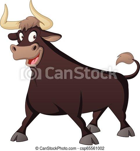 Cartoon cute bull. Vector illustration of funny happy animal. - csp65561002