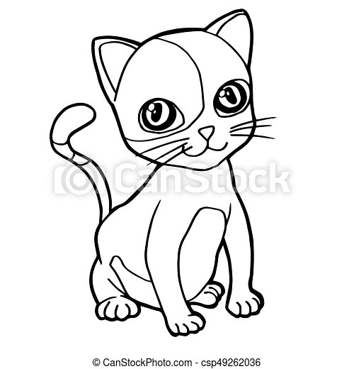 cartoon cute cat coloring page vector illustration
