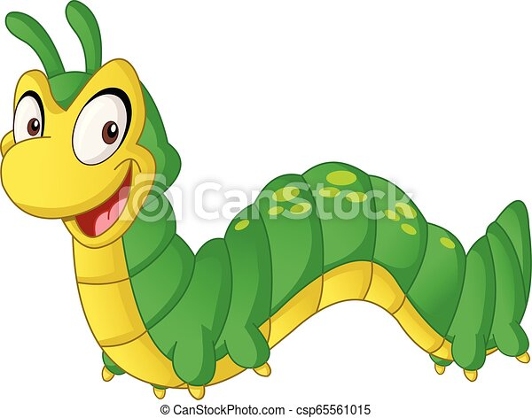 Cartoon cute Caterpillar. Vector illustration of funny happy animal. - csp65561015