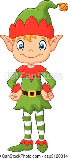 Cute Christmas Clip Art.Cartoon Cute Christmas Elf Posing