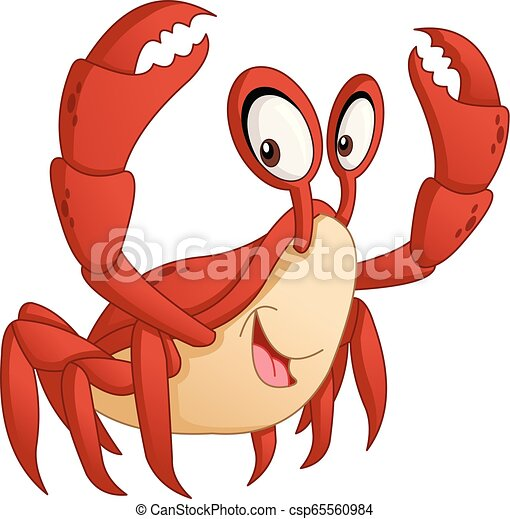 Cartoon cute crab. Vector illustration of funny happy animal. - csp65560984