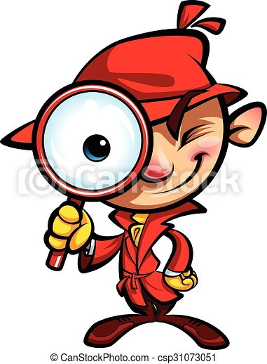 cartoon cute detective investigation with red coat and clipart rh canstockphoto com detective clip art black and white detective clip art black and white