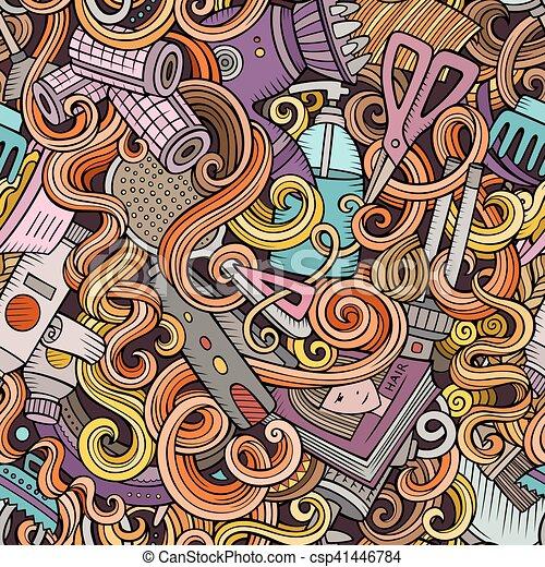 Cartoon cute doodles hairdressing salon seamless pattern - csp41446784