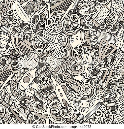 Cartoon cute doodles hairdressing salon seamless pattern - csp41449073