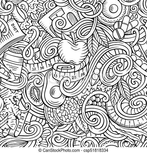 Cartoon cute doodles hand drawn Diet food seamless pattern - csp51818334