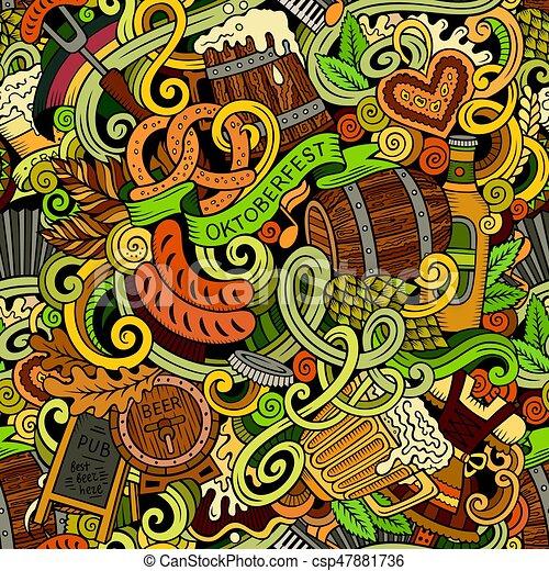 Cartoon cute doodles hand drawn Octoberfest seamless pattern - csp47881736