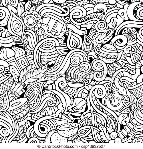 cartoon cute doodles hand drawn indian culture seamless pattern