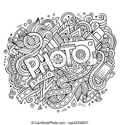 Cartoon cute doodles hand drawn Photo inscription - csp43339037