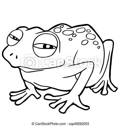 cartoon cute frog coloring page vector illustration - Cartoon Frog Coloring Pages