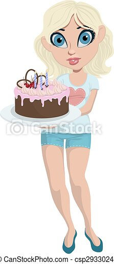 Cartoon cute girl with birthday cake - csp29330242