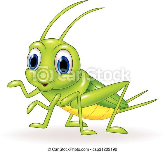 Cartoon cute green cricket isolated - csp31203190