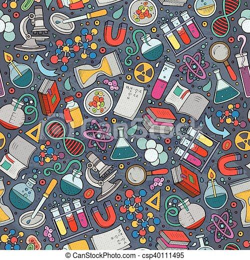 Cartoon cute hand drawn Science seamless pattern - csp40111495