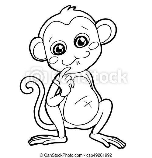 Cartoon cute monkey coloring page vector illustration.
