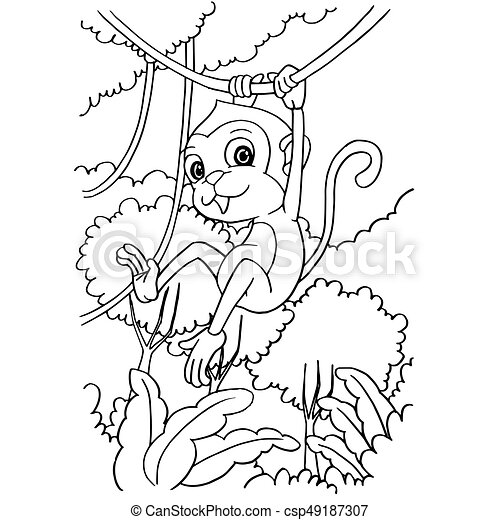 Cartoon Cute Monkey Coloring Page Vector Illustration