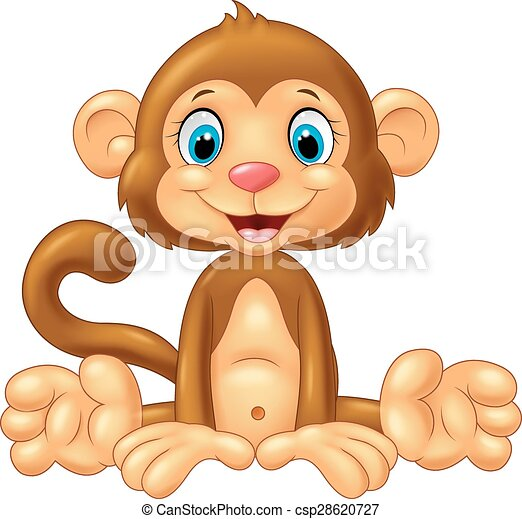 Cartoon cute monkey sitting - csp28620727