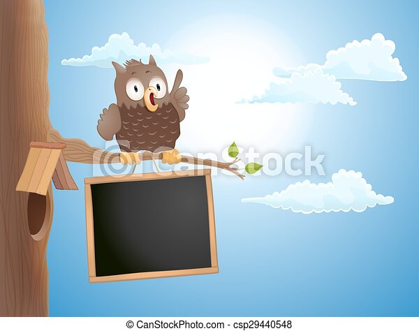 cartoon cute owl sitting on branch and a chalkboard. vector illustration - csp29440548
