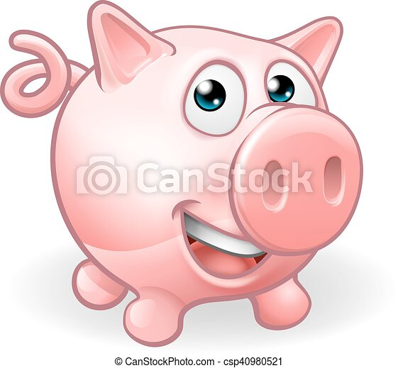 Cartoon Cute Pig Farm Animal - csp40980521