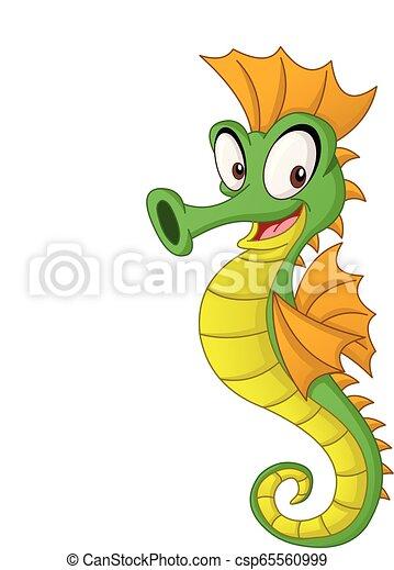 Cartoon cute seahorse. Vector illustration of funny happy animal. - csp65560999