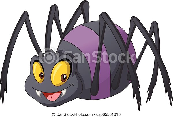 Cartoon cute spider. Vector illustration of funny happy animal. - csp65561010