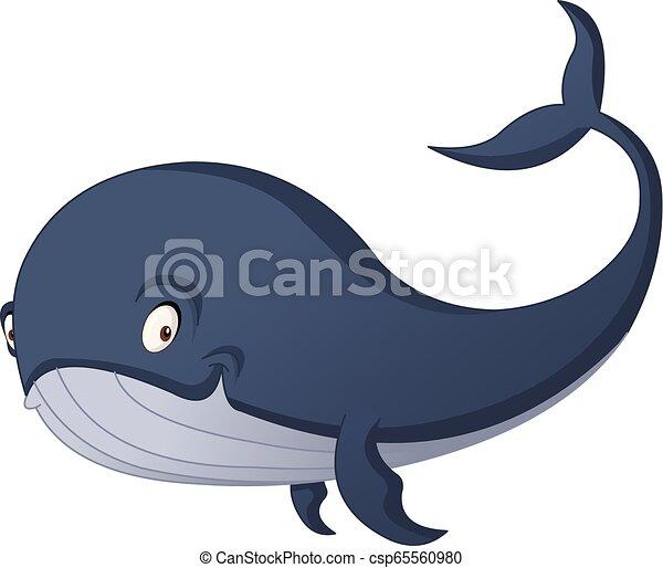 Cartoon cute whale. Vector illustration of funny happy animal. - csp65560980