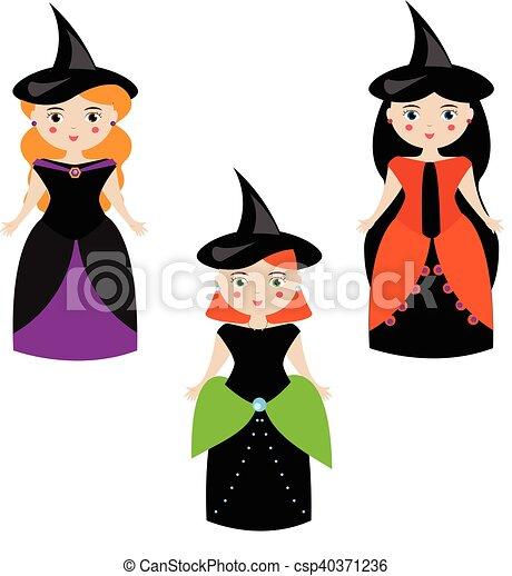 Cartoon Cute Witches Characters In Dresses And Hats Girls In Carnival Halloween Costumes Vector Illustration