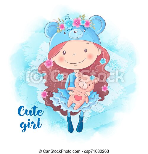 Cartoon cute woman with bear. Vector illustration - csp71030263