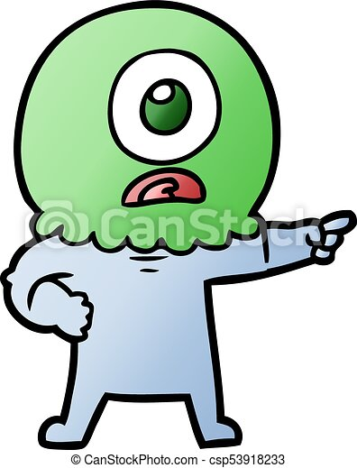 cartoon cyclops alien spaceman pointing vectors search clip art rh canstockphoto com  cyclops clipart