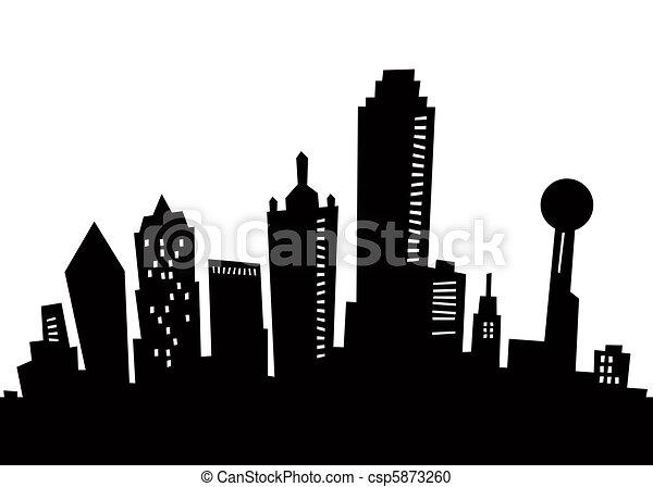 Cartoon Dallas Silhouette - csp5873260