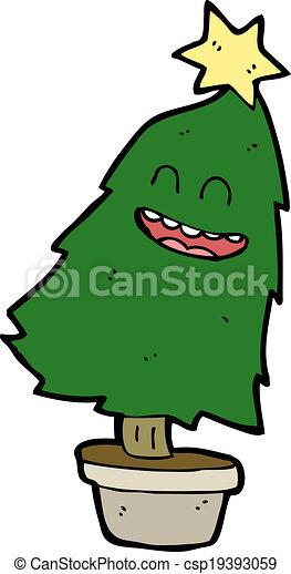 cartoon dancing christmas tree csp19393059